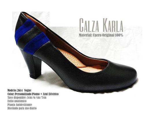 Calzado Karla | zapato azul eléctrico y negro