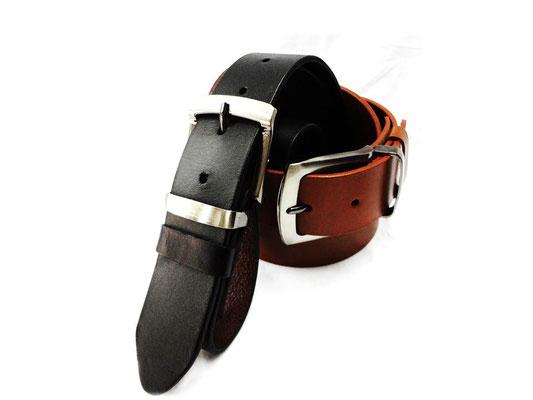 cinturon de cuero marron y negro
