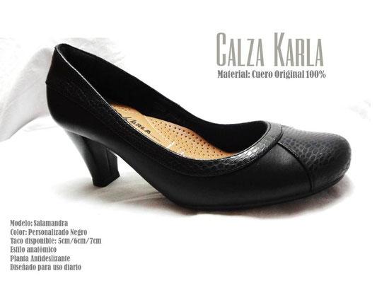 zapato de cuero con taquito