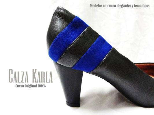 Calzado Karla | zapato azul eléctrico y gris