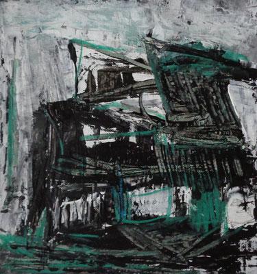 Abstrakt, 2015, 18 x 17 cm, Acryl, Aquarellstifte und Tusche auf Karton