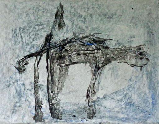 Tier, 2015, 36 x 48 cm, Tusche und Acryl auf Karton