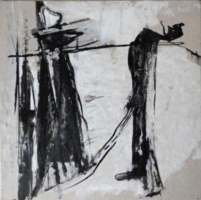 Abstrakt, 2015, 20,5 x 20,5 cm, Tusche und Acryl auf Karton