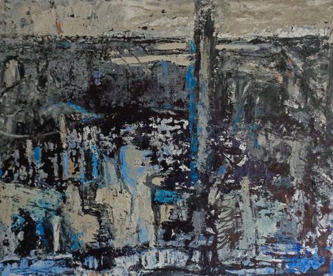 Landschaft, 2015, 50 x 60 cm, Tusche und Acryl auf Hartfaserplatte