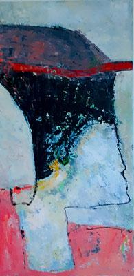 Frau mit Hut, 2017, 80 x 40 cm, Oel auf Leinwand
