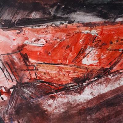 Ohne Titel, 2017,  18,9 x 19,2 cm, Acryl und Aquarell auf Papier