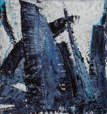 Abstrakt, 2015, 20,5 x 20,5 cm, Acryl und Tusche auf Karton