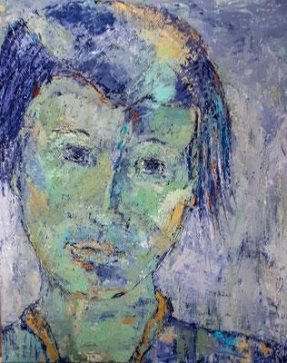 Junge Frau, 2018, 100 x 90 cm,  Oel auf Leinwand
