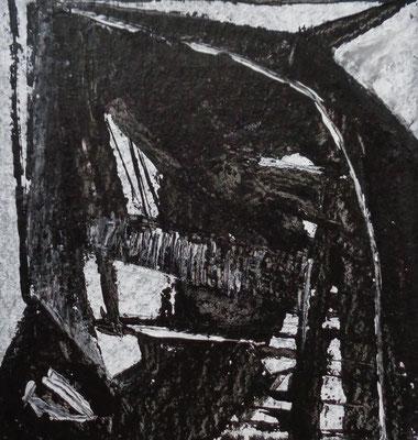 Abstrakt, 2015, 18 x 17 cm, Acryl und Tusche auf Karton