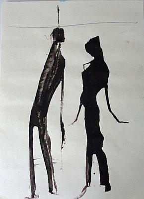 Paar, 2016, Tusche auf Papier, 40 x 30 cm