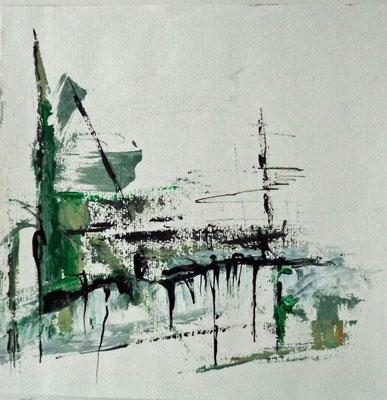 Ohne Titel, 2015, 28,5 x 28,4 cm, Tusche und Acryl auf Papier