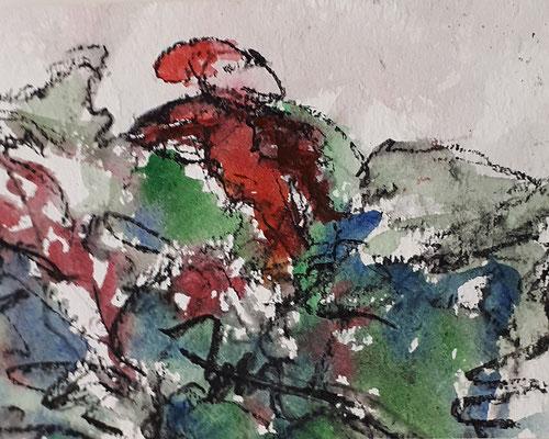 Kobold, 2018, 15,6 x 20, cm, Aquarell und Kohle auf Papier