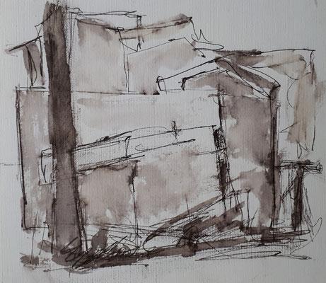 Ohne Titiel, 2017, 13,1 cm x 15 cm Tusche auf Papier