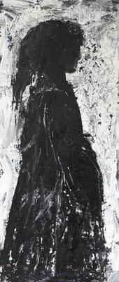 Mädchen, 2018, 80,5 x 34 cm, Acryl und Tusche auf Karton