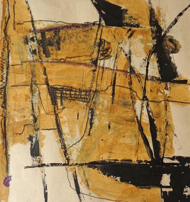 Abstrakt, 2016, 31,5 x 29,4 cm, Acryl und Aquarellstifte auf Papier