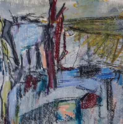 Landschaft, 2018, 19 x 19 cm, Aquarell und -stifte auf Papier