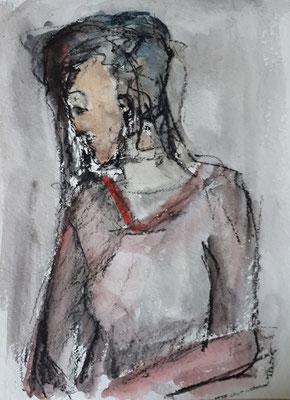 Frau, 2018, 40 x 30 cm, Aquarell und Kohle auf Papier