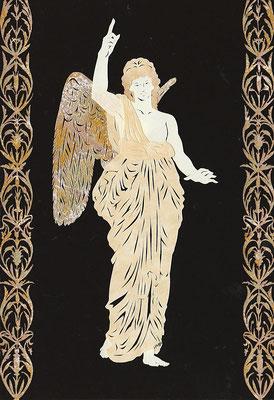 切り絵・天を指す天使