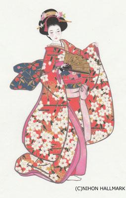 貼り絵・美人・和風クリスマスカード用原画