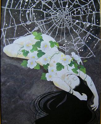 創作和紙絵「謡曲・夕顔」