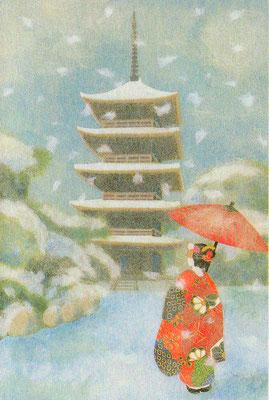 五重の塔と舞妓・和風クリスマスカード・日本ホールマーク社より発売(C)Kamiya Hasse