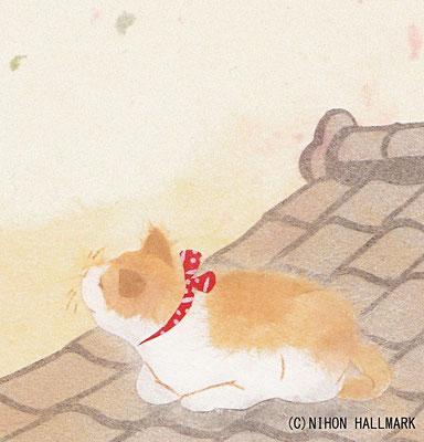 和風イラスト・貼り絵・猫