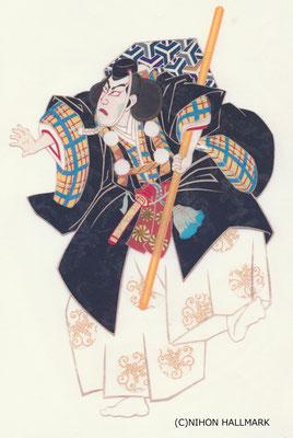 貼り絵・弁慶・和風クリスマスカード用原画