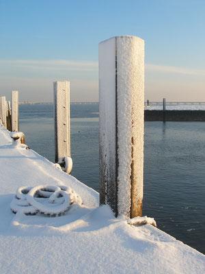 Ferienwohnung Sonnenhook, Hooksiel, Wangerland, Nordsee, Hafen von Hooksiel im Winter