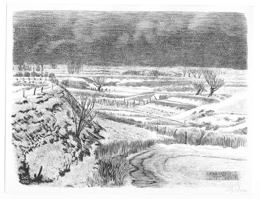 Dirk van Gelder Veere, houtgravure 'Bolwerk buiten Veere'. Gesigneerd. Afmeting 12 x 16cm.