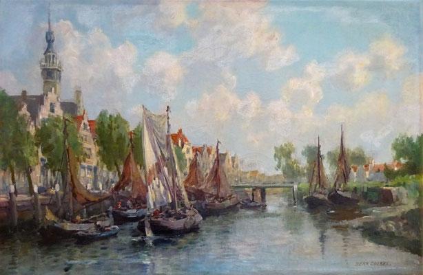 Bernardus Coesel. Haven van Veere. Olieverf op doek. Gesigneerd. Afm. 42 x 62cm.  Verkocht.