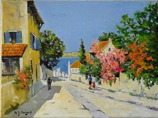 A.J. Zwart olieverf schilderij