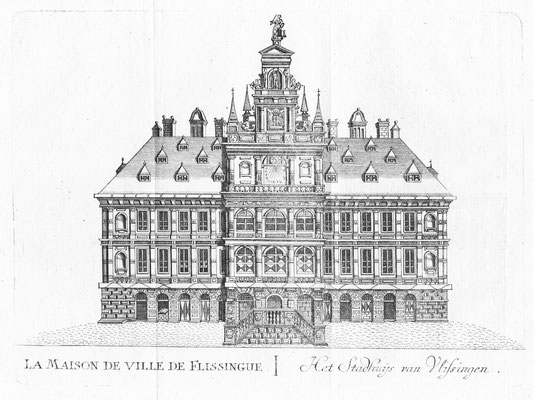 Stadhuis Vlissingen.15 x 20cm.  Kopergravure uit 'Les délices des Pais-Bas' uitgegeven door Jean-Baptiste & PetrusFoppens. 1786. € 45,-