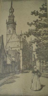 Louis Heymans Veere, markt, ets. Afm. 28 x 14cm. Prijs € 195,-