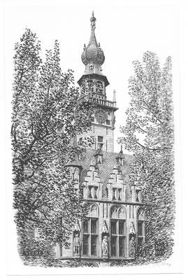 Dirk van Gelder Veere, houtgravure 'stadhuis'. Gesigneerd. Afmeting 16 x 10,5cm.