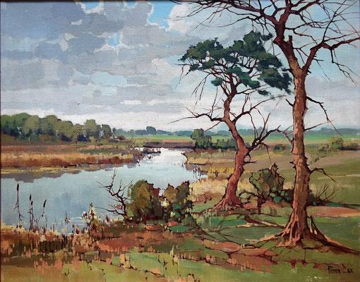 Peter Cox. Landschap, olieverf op doek. Gesigneerd. Afm. 40 x 50cm.