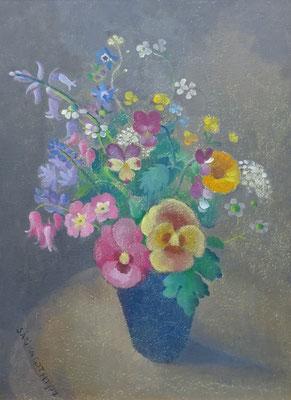 Sárika Góth bloemstilleven, olieverf op paneel. Gesigneerd. Afm. 40 x 30cm. Prijs € 550,-