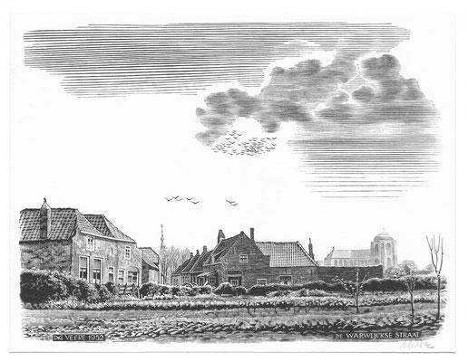 Dirk van Gelder Veere, houtgravure 'de Warwijckse straat'. Gesigneerd. Afmeting 10 x 13cm.