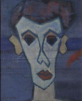 Reimond Kimpe, Portret, olieverf op doek en geplakt op zachtboard. Gesigneerd. Afmeting 58 x 48cm. Verkocht.