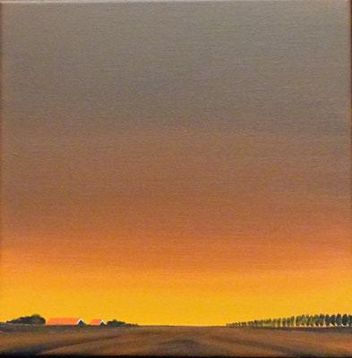 Nelly van Nieuwenhuijzen, acryl op doek. 'Avond in Zeeland'. Gesigneerd. Afm. 30 x 30cm.