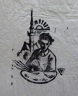 Karel van Veen Veere. Houtgravure op rijstpapier. Zijn eigen logo ? Afmeting afbeelding 7 x 4,5cm. Prijs € 90,-