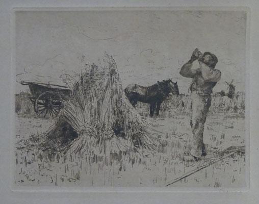 Waalko J. Dingemans, ets, maaiende boer. Gesigneerd rechts onder met potlood. Afm. 20 x 26cm. Prijs € 145,-