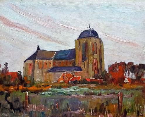 Alfons van Dijck. Grote Kerk te Veere, olieverf op paneel. Gesigneerd links onder. Te dateren circa 1950.  Afm. 21 x 27cm. Prijs € 1200,-