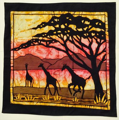 Batik cushion cover. Giraffes size 70 x 70 cm € 59,-