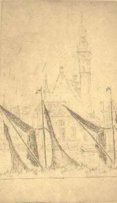 Ets. A. Erkelens. Kade met stadhuis. 16 x 10cm. Prijs met etsplaat: € 175,-