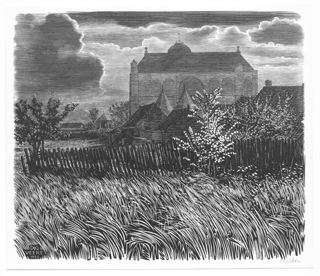 Dirk van Gelder Veere, houtgravure 'Grote Kerk bij avond'. Gesigneerd. Afmeting 13,5 x 15,5cm.