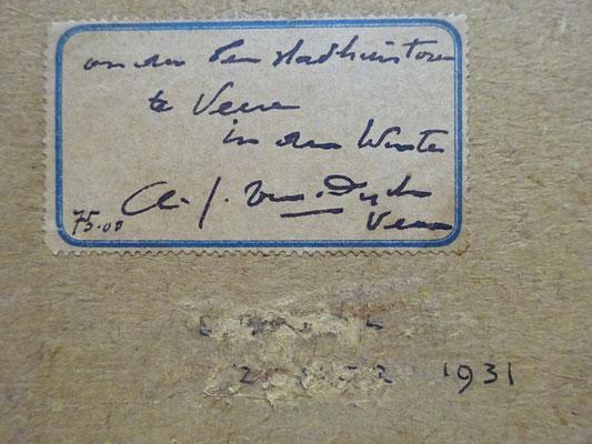 Zegel met daarop de titel, prijs en handtekening.