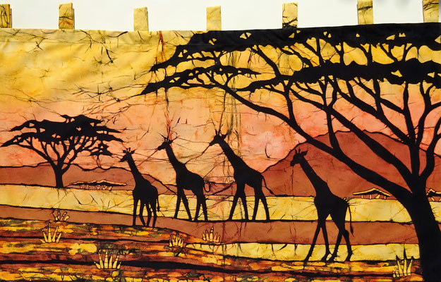 Batik wall hanging. . Four giraffes H 60 x W 111 cm. € 90,- (size without loop).. SOLD.