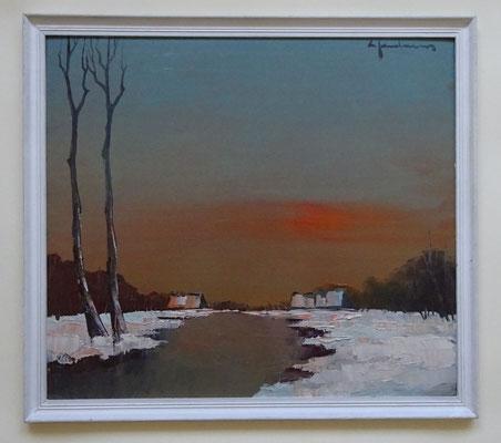 L.Jordaens, Weert aan de Schelde, afm. met lijst: 41,5 x 46,5cm.