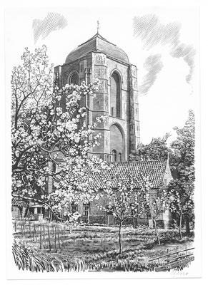 Dirk van Gelder Veere, houtgravure 'Grote Kerk'. Gesigneerd. Afmeting 16 x 11,5cm.