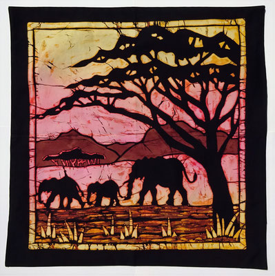 Batik cushion cover. Elephants size 70 x 70 cm € 59,-